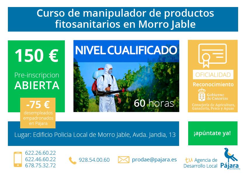 Curso de manipulador de productos fitosanitarios avanzado en Morro Jable
