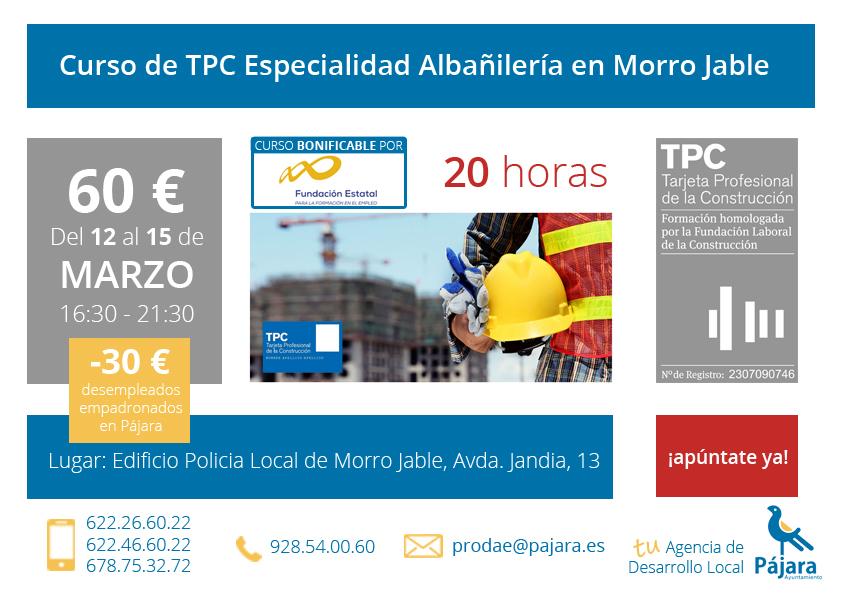 curso TPC construcción albañilería fuerteventura