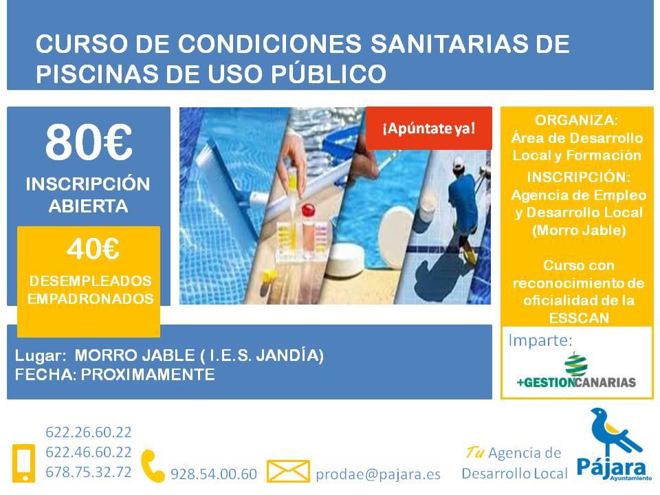 Curso de condiciones sanitarias en piscinas de uso público